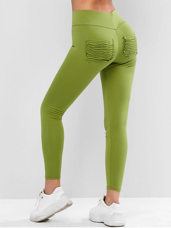 unique High Waisted Ruched Back Pockets Leggings - AVOCADO GREEN XL
