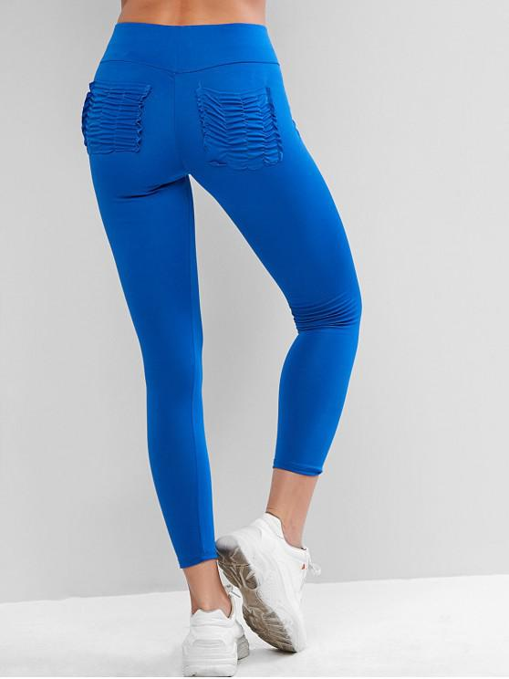 latest High Waisted Ruched Back Pockets Leggings - OCEAN BLUE XL