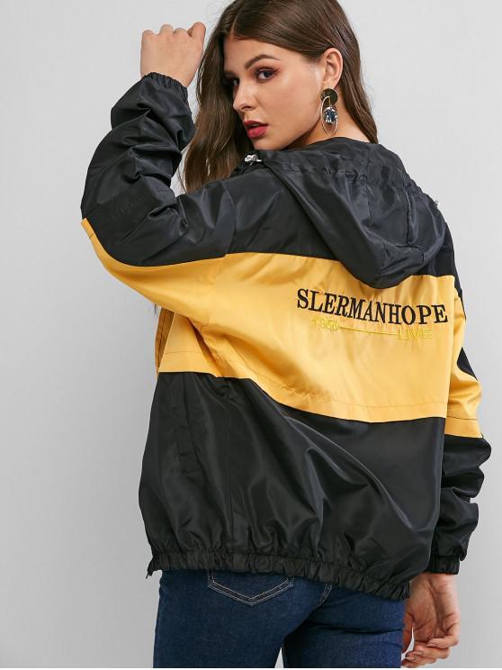 sale Letter Embroidered Colorblock Drop Shoulder Hooded Jacket - MULTI L