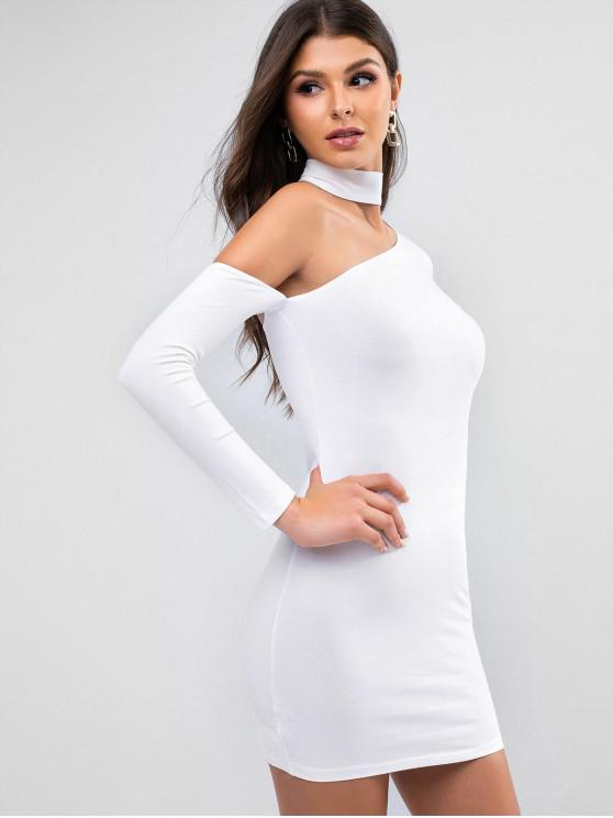 womens Solid Color Bodycon Choker Dress - WHITE M