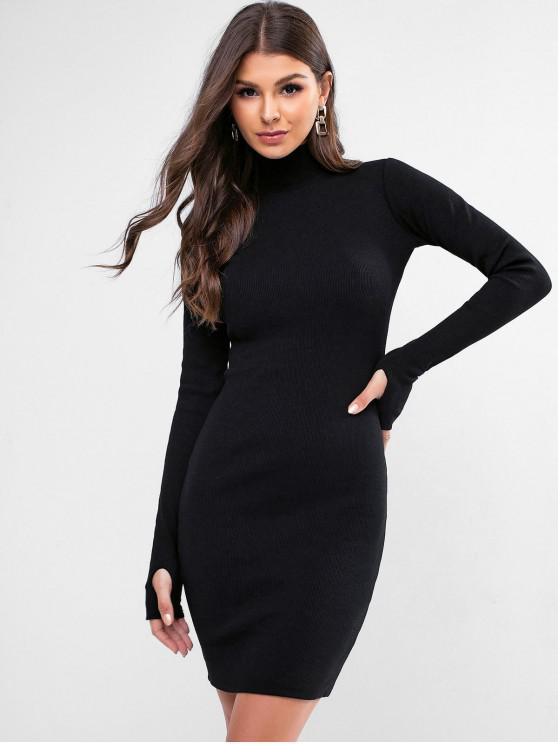 lady High Neck Solid Thumbhole Sheath Dress - BLACK M