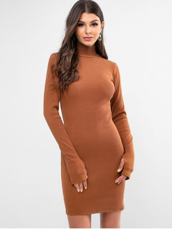 latest High Neck Solid Thumbhole Sheath Dress - BROWN L