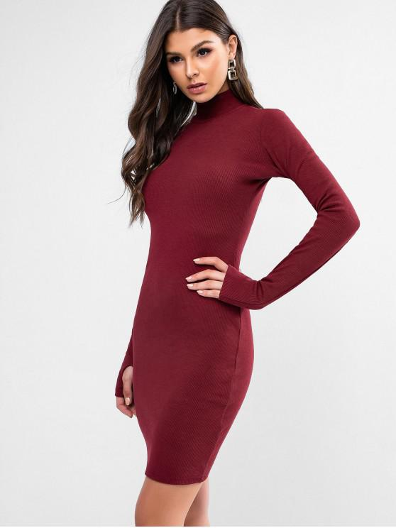 chic High Neck Solid Thumbhole Sheath Dress - RED M