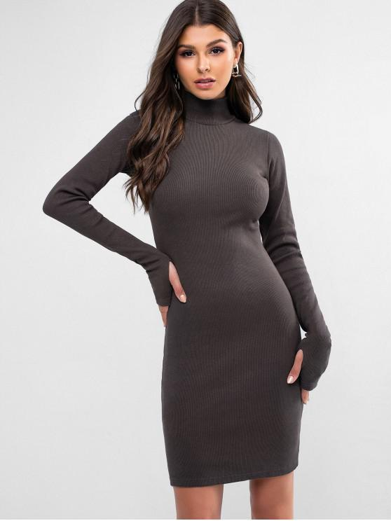 unique High Neck Solid Thumbhole Sheath Dress - GRAY L