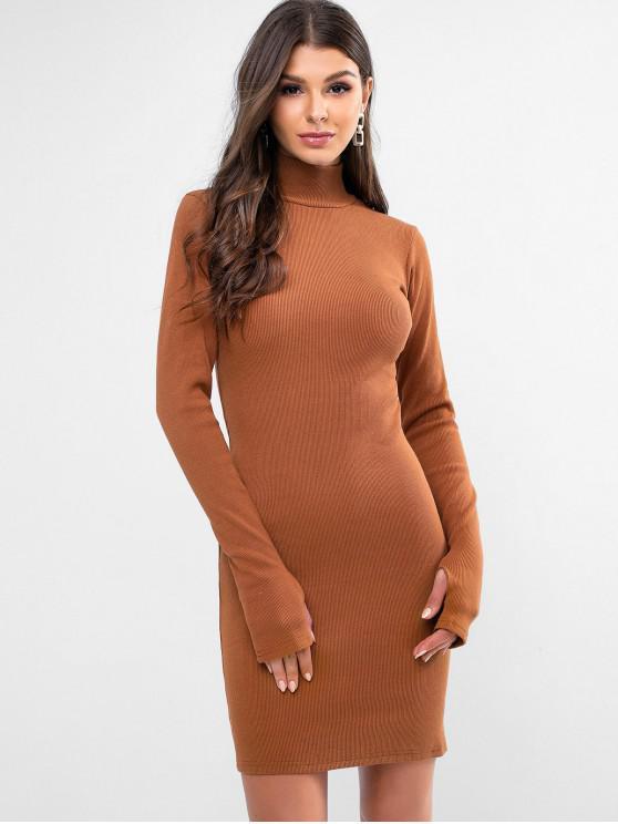sale High Neck Solid Thumbhole Sheath Dress - BROWN M
