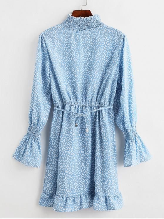 online Poet Sleeve Printed Flounced Hem Mini Dress - DAY SKY BLUE S