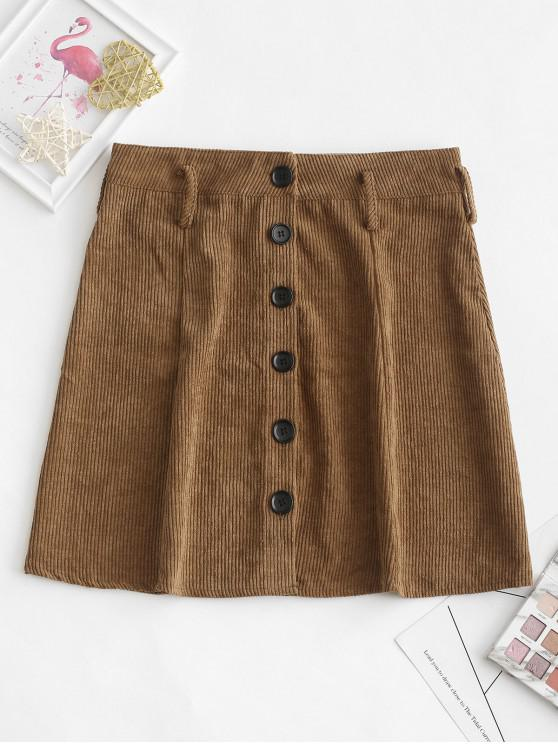 outfit Button Up Mini Corduroy A Line Skirt - BROWN S