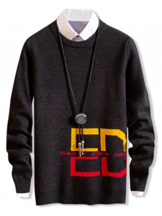 unique Casual Design Round Neck Pullover Sweater - CARBON GRAY XS