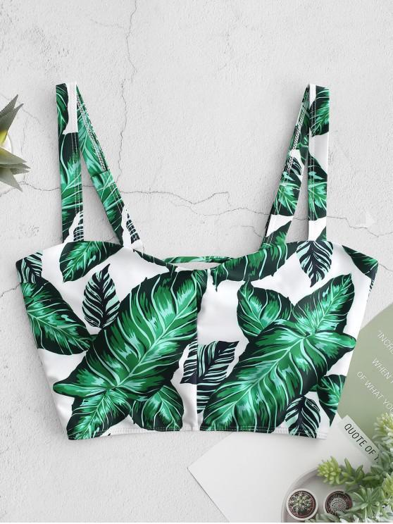 chic ZAFUL Palm Lace Up Square Neck Bikini Top - MULTI-A L