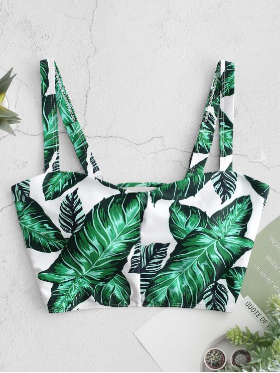 women's ZAFUL Palm Lace Up Square Neck Bikini Top - MULTI-A S