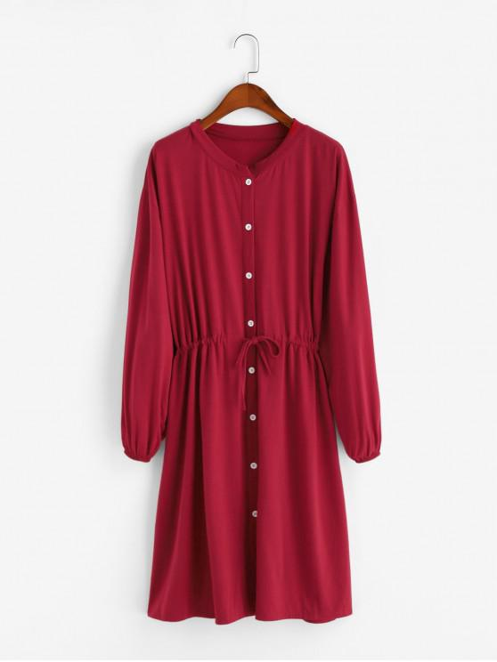 fashion Drawstring Waist Button Front Long Sleeve Dress - RED L