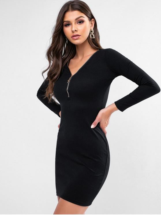 ladies Zipper Front Plunging Ribbed Bodycon Dress - BLACK XL