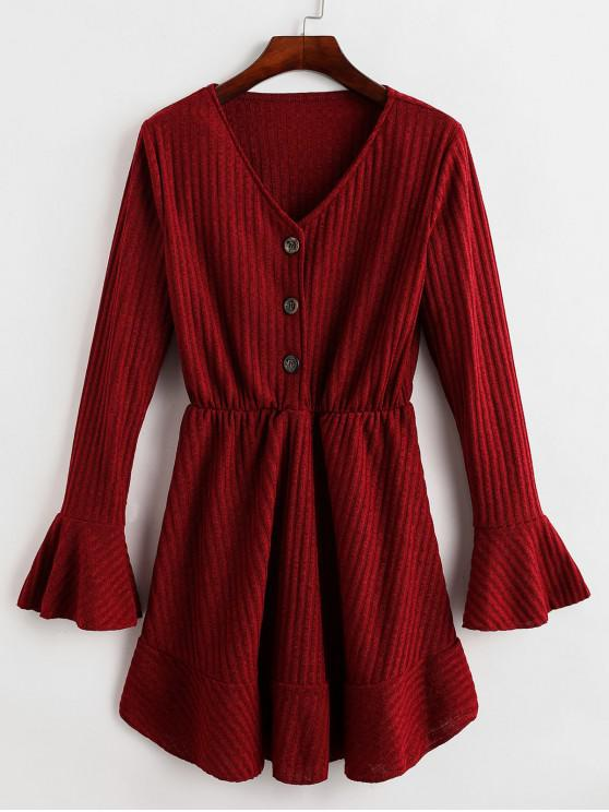 best Half Buttoned Ribbed Long Sleeve Mini Dress - RED WINE L