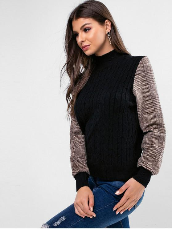 fashion Mock Neck Plaid Fleece Panel Cable Knit Sweater - BLACK ONE SIZE