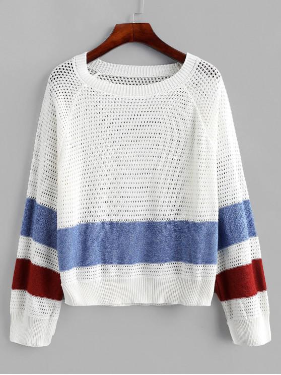 ladies Raglan Sleeves Openwork Colorblock Sweater - MULTI L