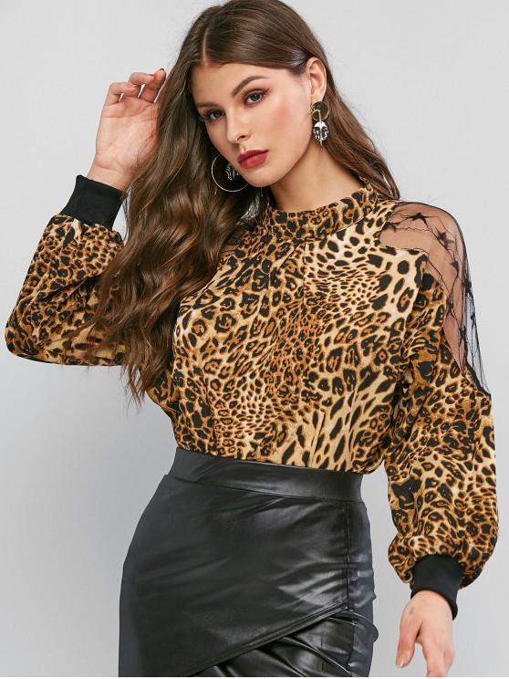 shops Mock Neck Lace Panel Leopard Blouse - LEOPARD L