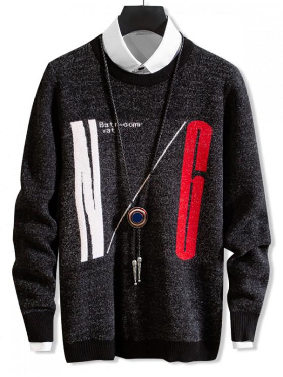 online Letter Graphic Ribbed-knit Trim Crew Neck Sweater - BLACK M