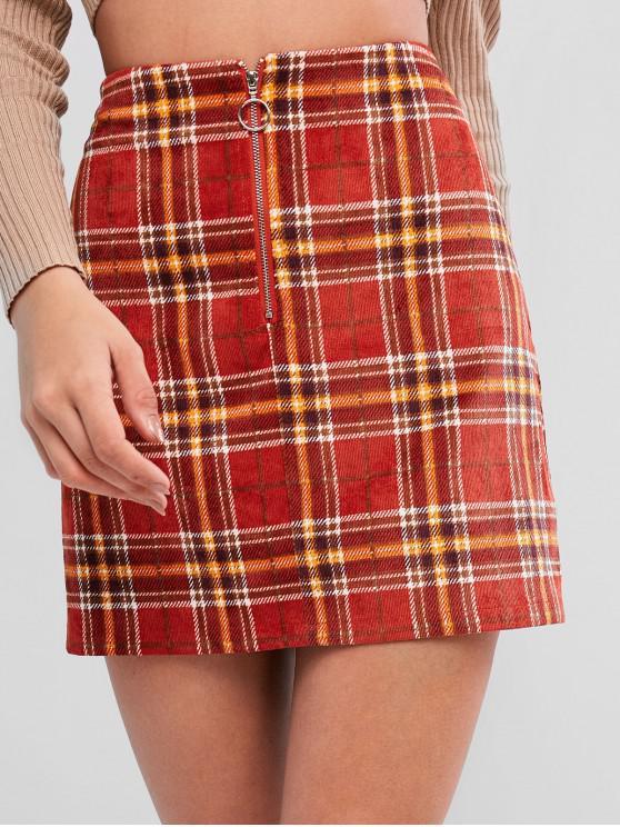 online ZAFUL Plaid Corduroy Pull Ring Zip Mini Skirt - CHESTNUT RED L