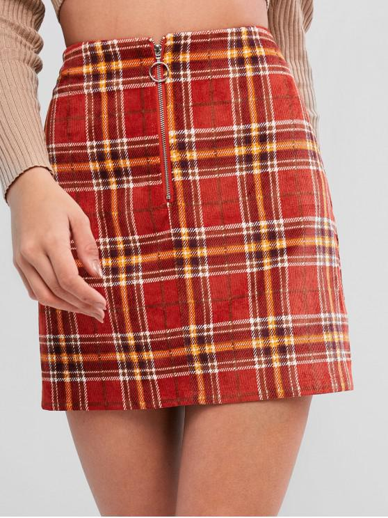 sale ZAFUL Plaid Corduroy Pull Ring Zip Mini Skirt - CHESTNUT RED M