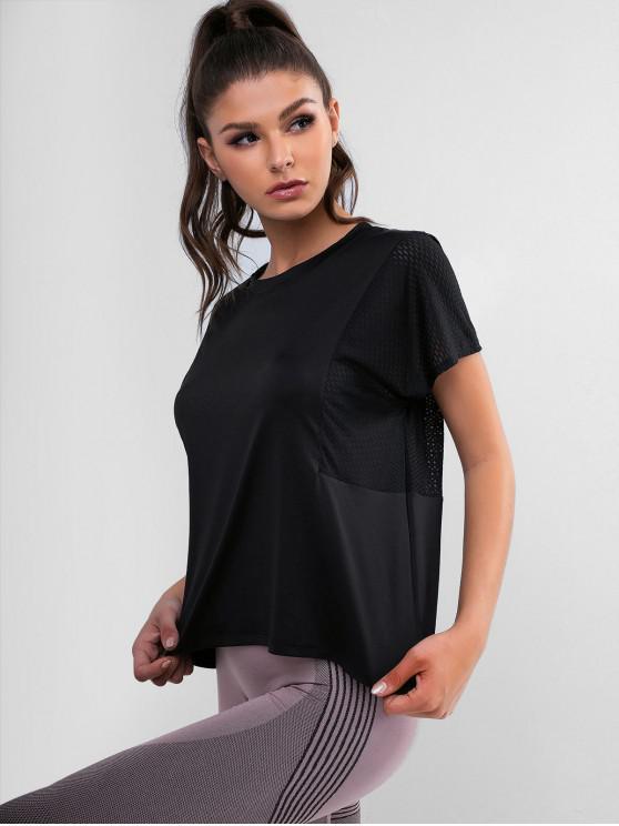 T-shirt Haut Bas Perforé à Manches Chauve-souris - Noir S