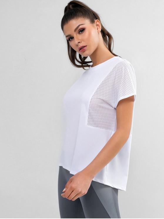 T-shirt Haut Bas Perforé à Manches Chauve-souris - Blanc S