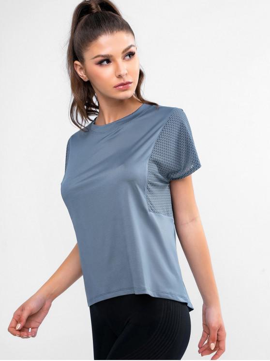 T-shirt Haut Bas Perforé à Manches Chauve-souris - Bleu-gris M