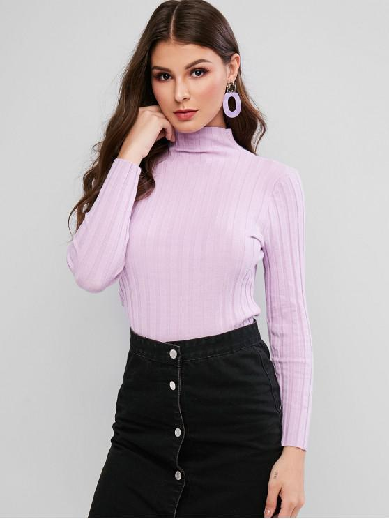 chic Mock Neck Basic Crop Sweater - MAUVE L