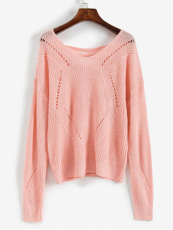 hot ZAFUL Scoop Neck Lace Up Open Knit Sweater - PINK M