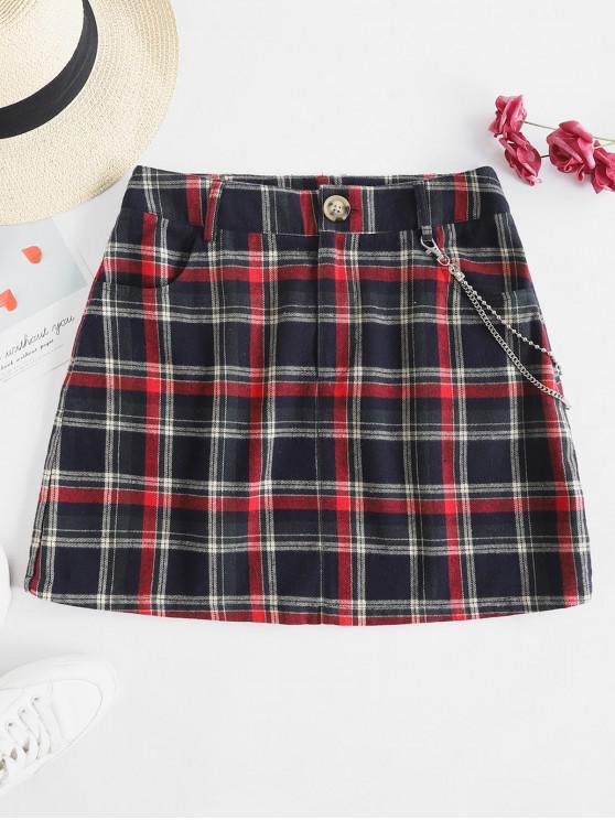 fancy ZAFUL Checked Print Pockets Metal Chain Mini Skirt - MULTI M