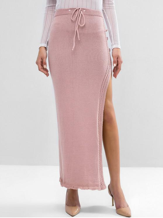 womens Drawstring Cable Knit Slit Maxi Pencil Skirt - PINK L