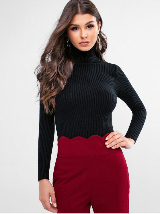 best Ribbed Turtleneck Slim Knitted Sweater - BLACK L