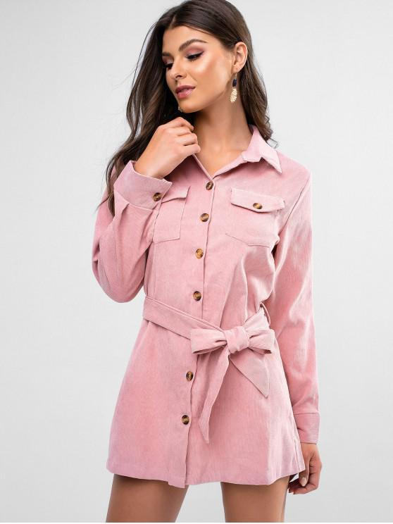 womens Flap Pockets Belted Corduroy Shirt Dress - PINK S