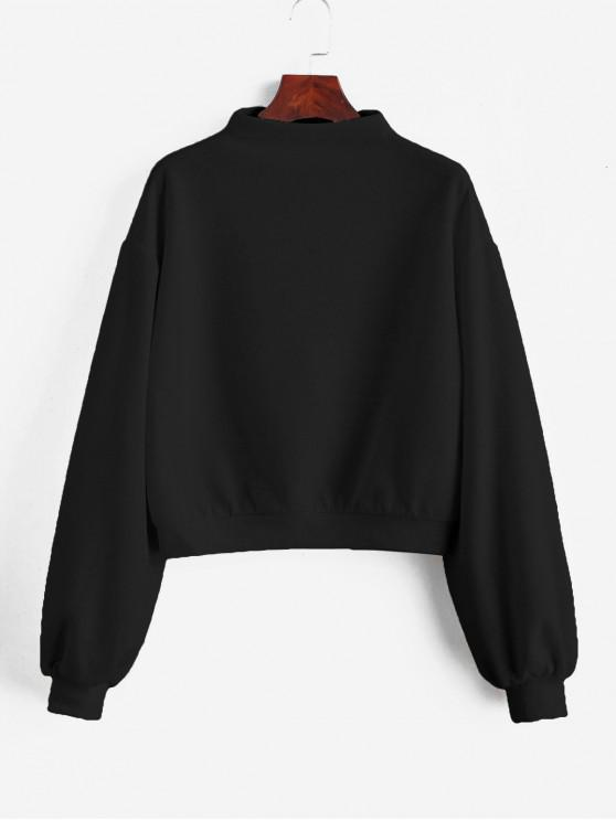 affordable ZAFUL Pullover Mock Neck Plain Sweatshirt - NIGHT XL