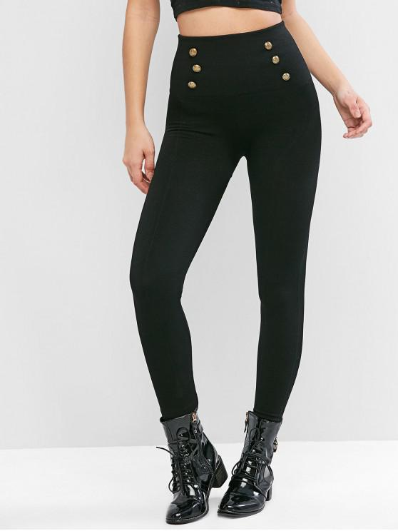 hot Button Embellished Fleece Lined High Waisted Leggings - BLACK M