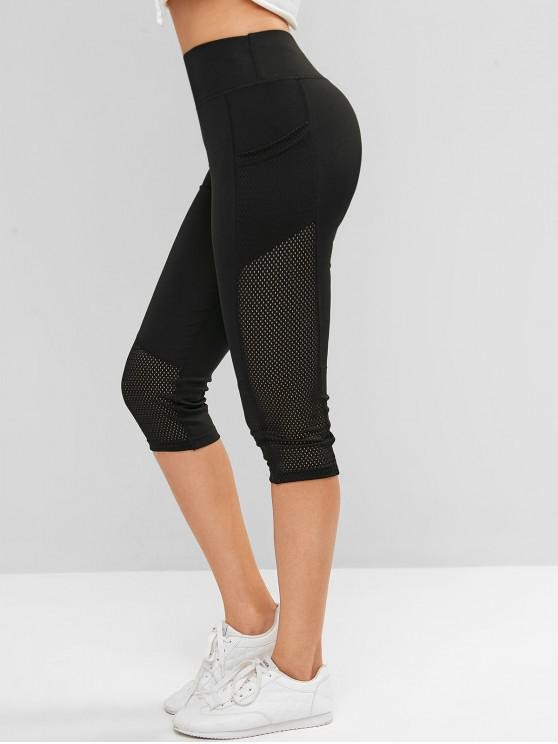 outfits Perforated Pockets Solid Capri Leggings - BLACK M