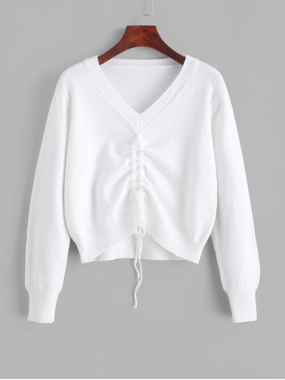 new Pullover Cinched Front V Neck Sweater - WHITE ONE SIZE