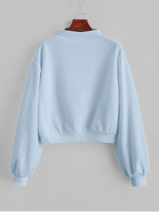 women's ZAFUL Pullover Mock Neck Plain Sweatshirt - LIGHT BLUE S