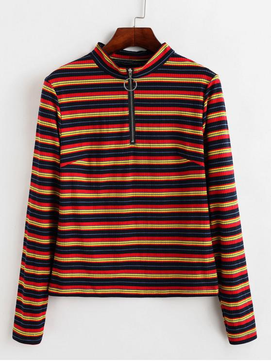 best ZAFUL Ribbed Half Zip Colorful Stripes Tee - MULTI-A S