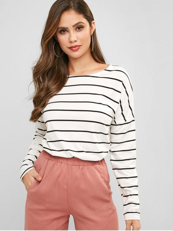 outfits Drop Shoulder Striped Long Sleeve Tee - WHITE L