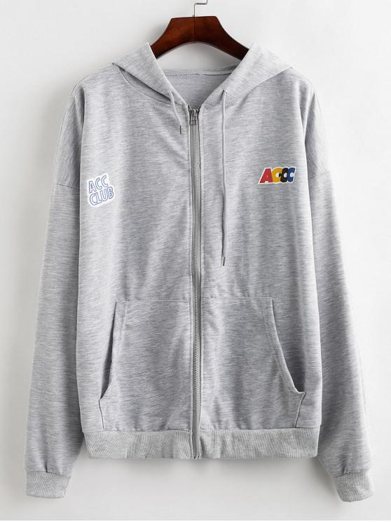 best Drawstring Pockets Zip Up Graphic Hoodie - LIGHT GRAY XL