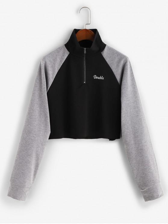 Carta bordado media cremallera con capucha Colorblock - Negro L
