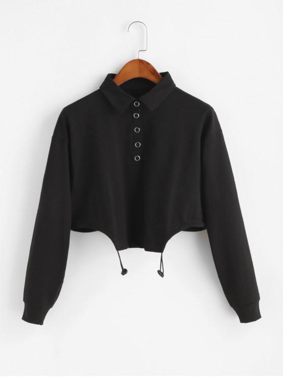 chic Half Button Asymmetric Hem Crop Sweatshirt - BLACK ONE SIZE