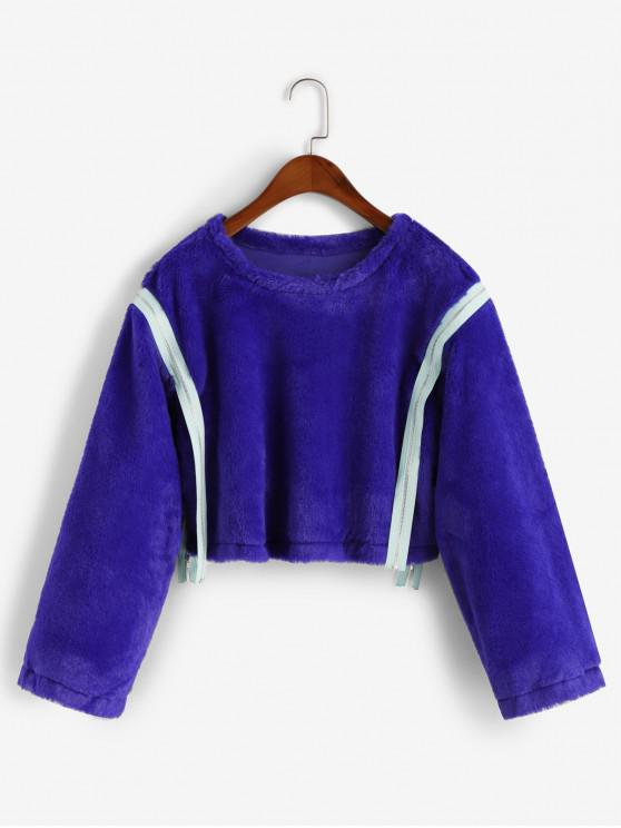 women's Fluffy Zippered Tape Faux Fur Pullover Sweatshirt - BLUE S