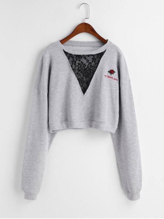 online Lace Panel Floral Letter Embroidered Crop Sweatshirt - GRAY S