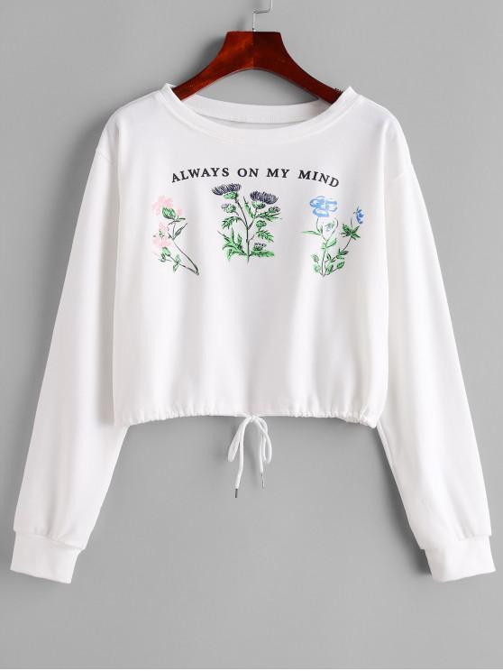 Sweat-shirt Fleuri à Cordon - Blanc L