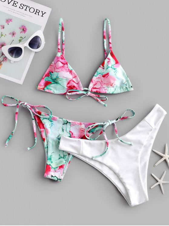 shops ZAFUL Tie Dye High Leg Three Pieces Bikini Swimsuit - MULTI-A L