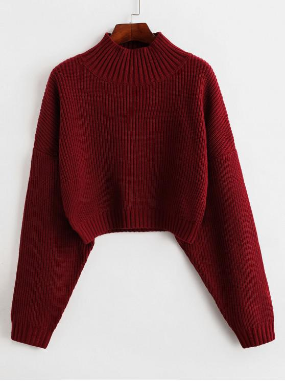 hot ZAFUL Drop Shoulder Mock Neck Plain Sweater - RED M