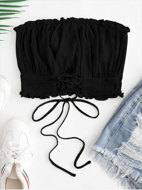 fashion ZAFUL Lettuce Trim Smocked Lace Up Bandeau Top - NIGHT S