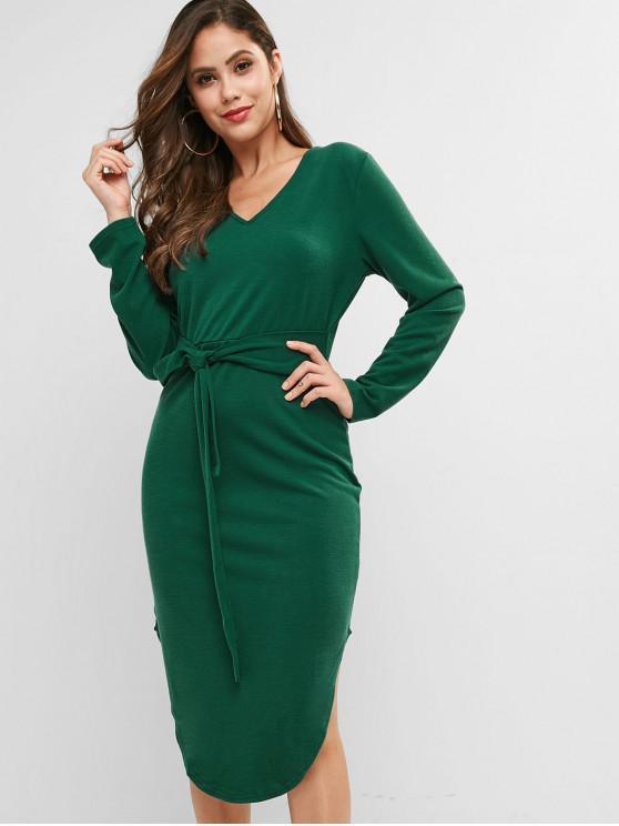 buy Knitted Belted V Neck Curved Hem Dress - DEEP GREEN L
