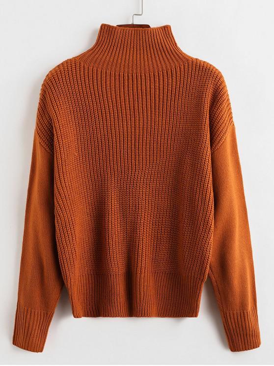 women's ZAFUL High Neck Drop Shoulder Jumper Sweater - CARAMEL M